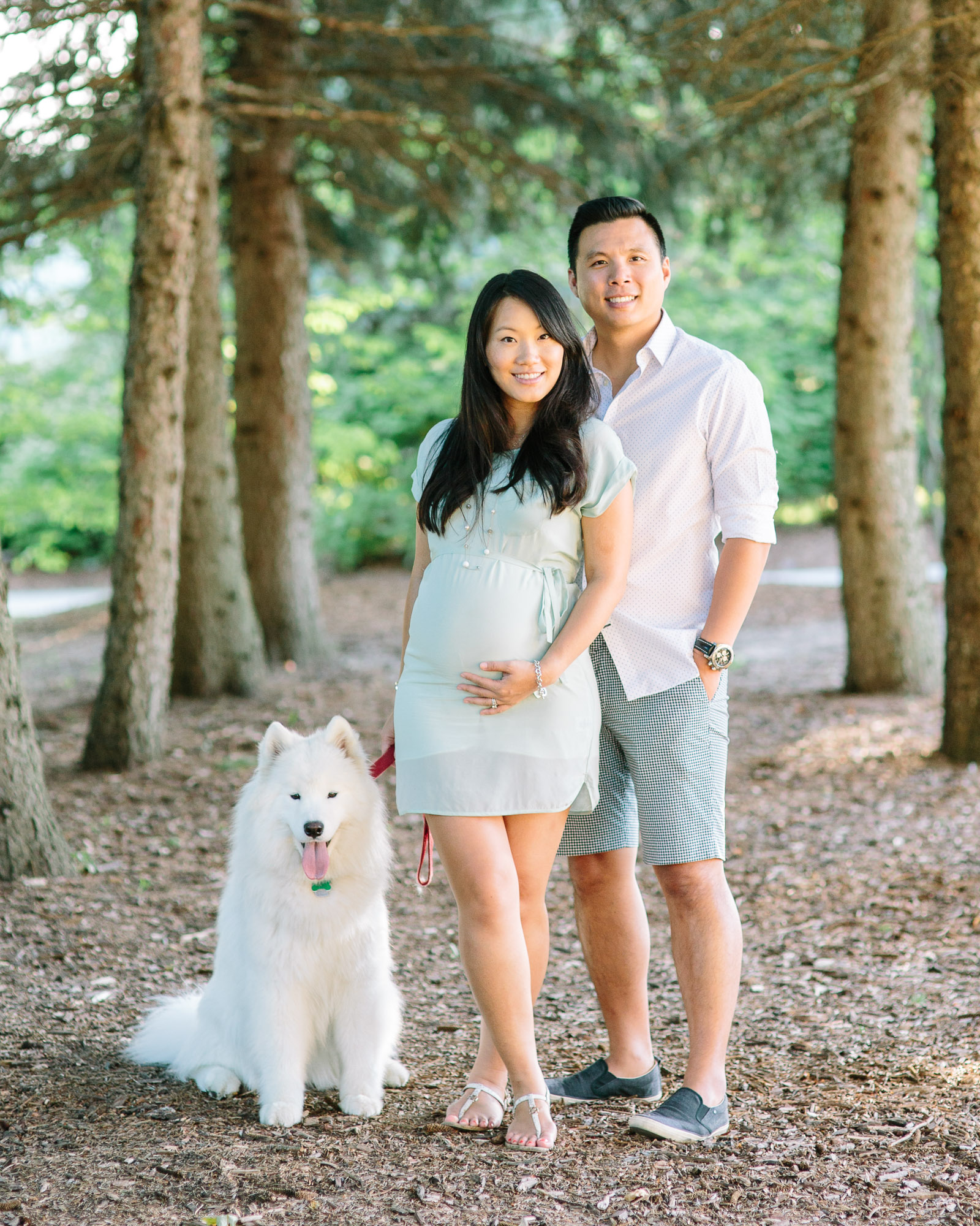 Expectant parents posed with their family dog