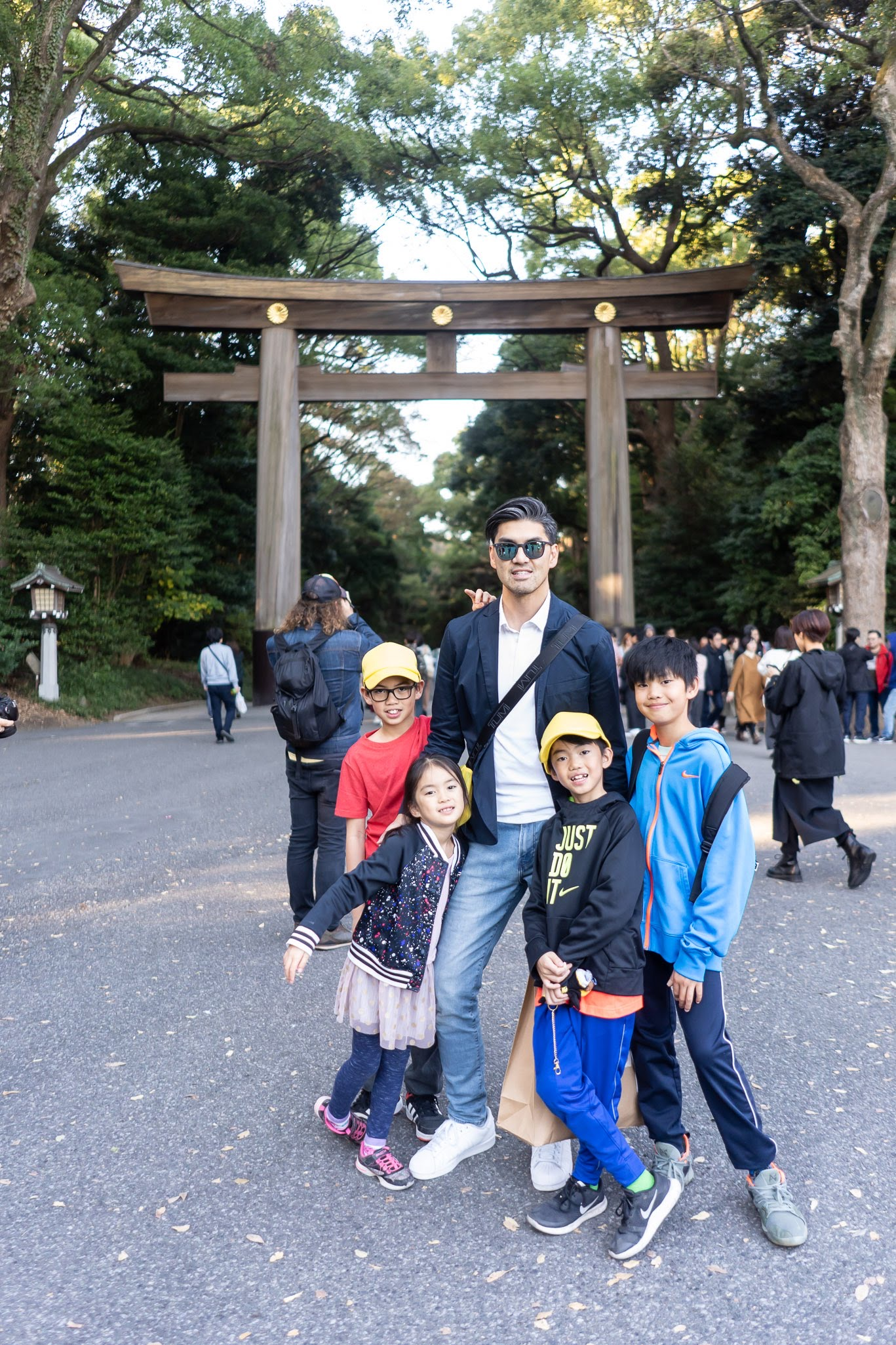 Joee Wong with his children in Tokyo, Japan.