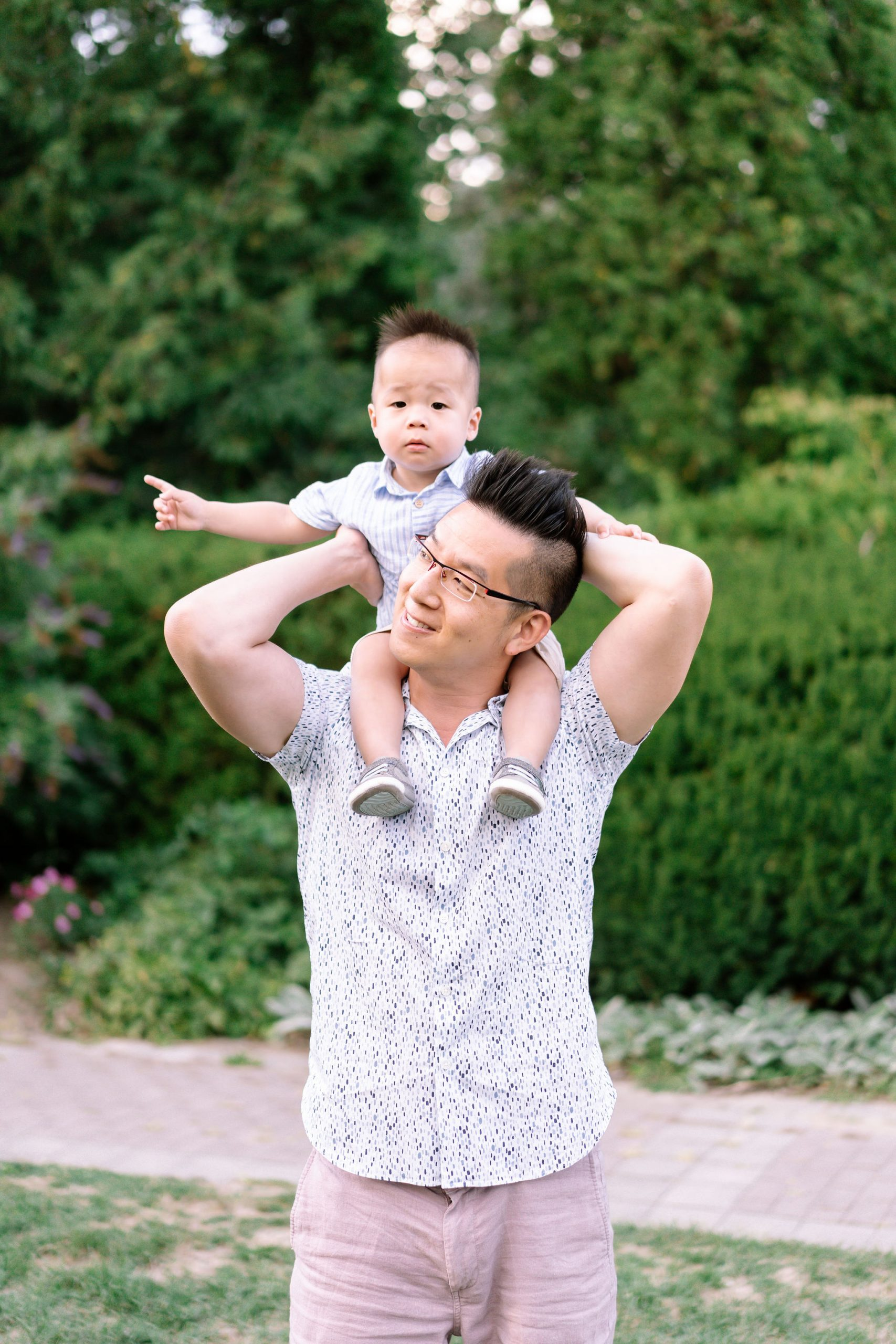Father piggybacks his son
